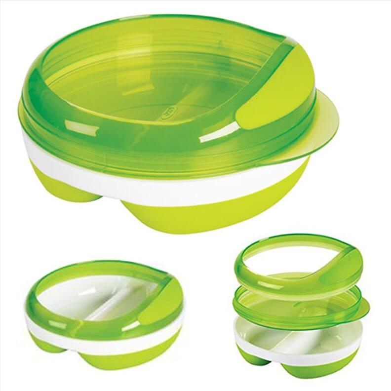 Assiette compartimentée avec couvercle OXO Tot - Vert