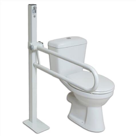 Barre d'appui pour toilettes fixée au sol
