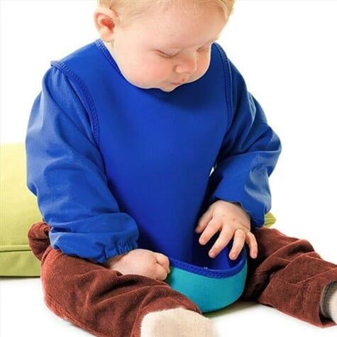 Bavoir ultra-absorbant avec manches - Bleu