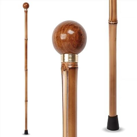 Canne décorative en bois - pommeau rond