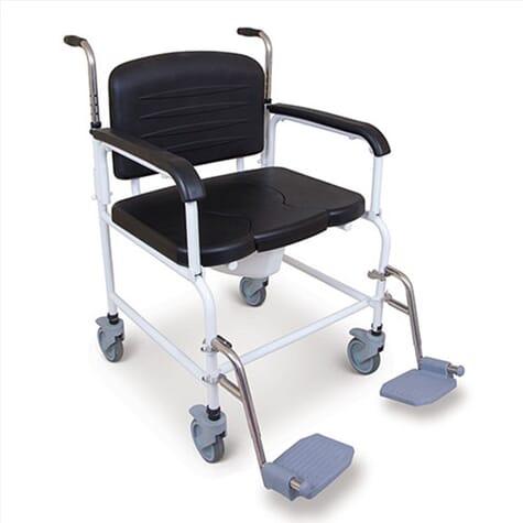 Chaise percée bariatrique à roulettes