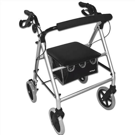 Déambulateur 4 roues compact et léger avec sac - Argenté