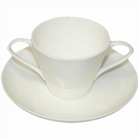 Tasse 2 anses et soucoupe en porcelaine de Chine