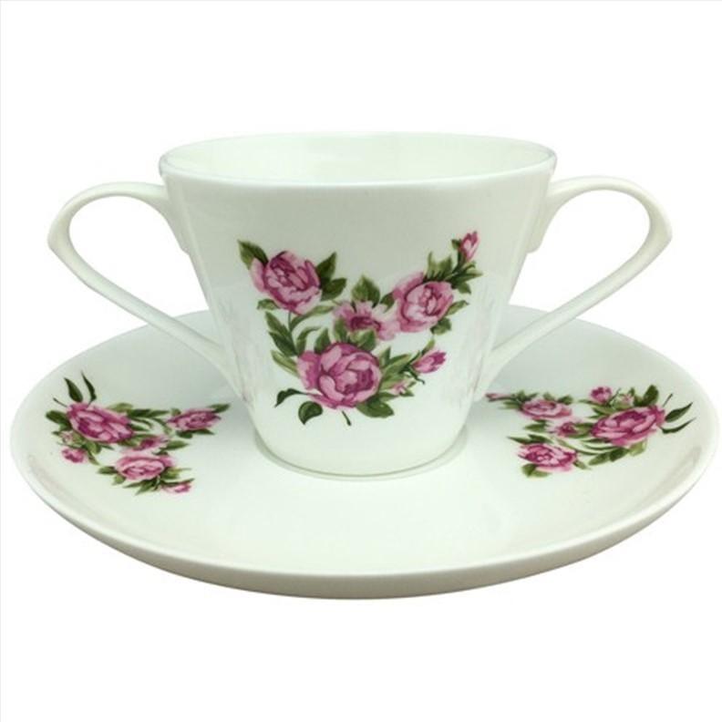 Tasse 2 anses et sous-tasse en porcelaine de Chine